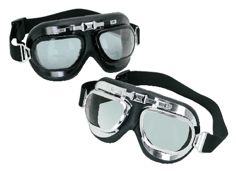 Black goggles with chrome frame